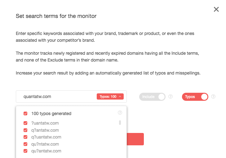 Type your domain name in the Advanced input field and click the Add to monitoring button.