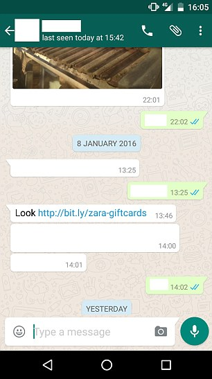 Potential victims got the following WhatsApp instant message from a contact.