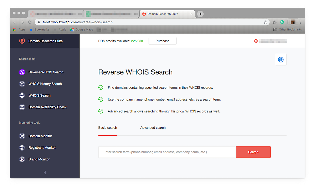 Access this by clicking Reverse WHOIS Search on the menu on the left.