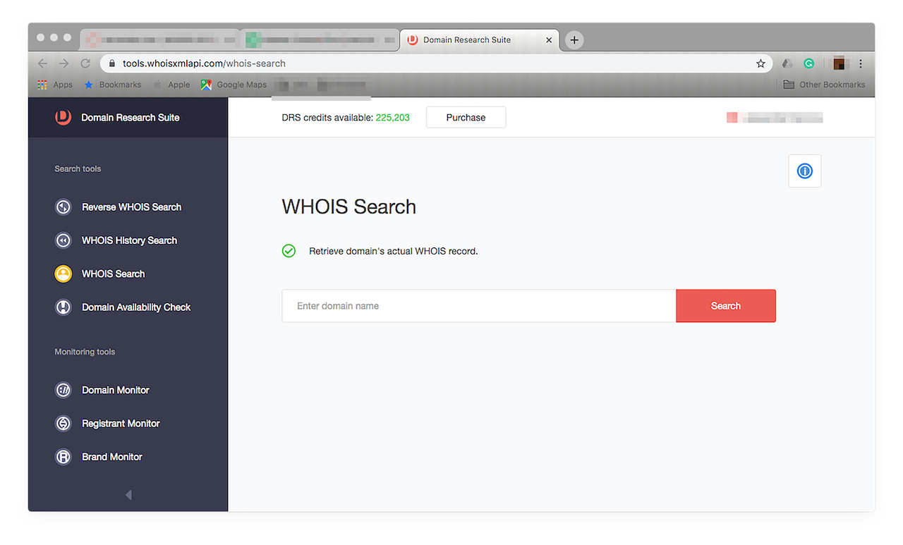 You can run a WHOIS Search on it, just click this from the left-hand menu.