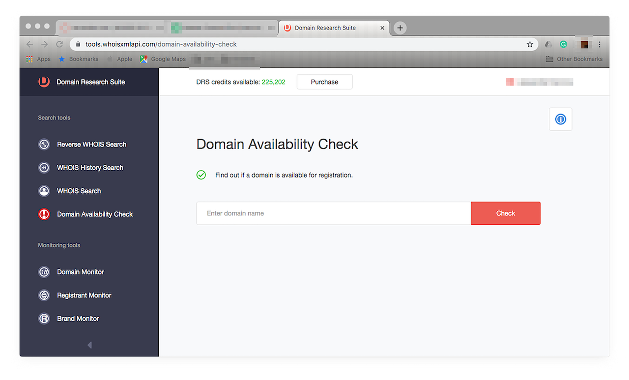 Just choose Domain Availability from the menu on the left.