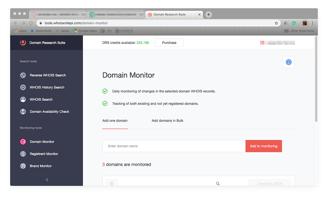 Go to Domain Monitor by choosing it from the menu on the left.