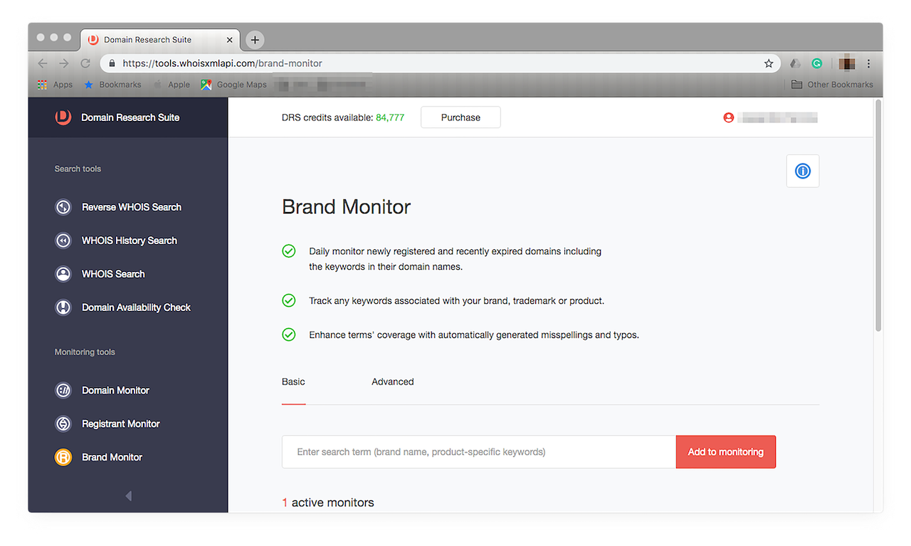 "Look for and click ""Brand Monitor"" on the left panel."