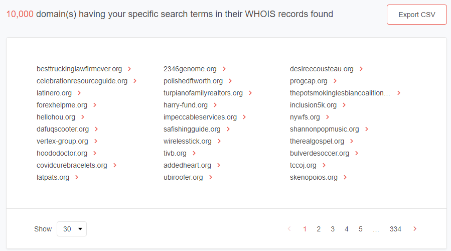 Search results for domains ending in .org with Texas as the registrant state.