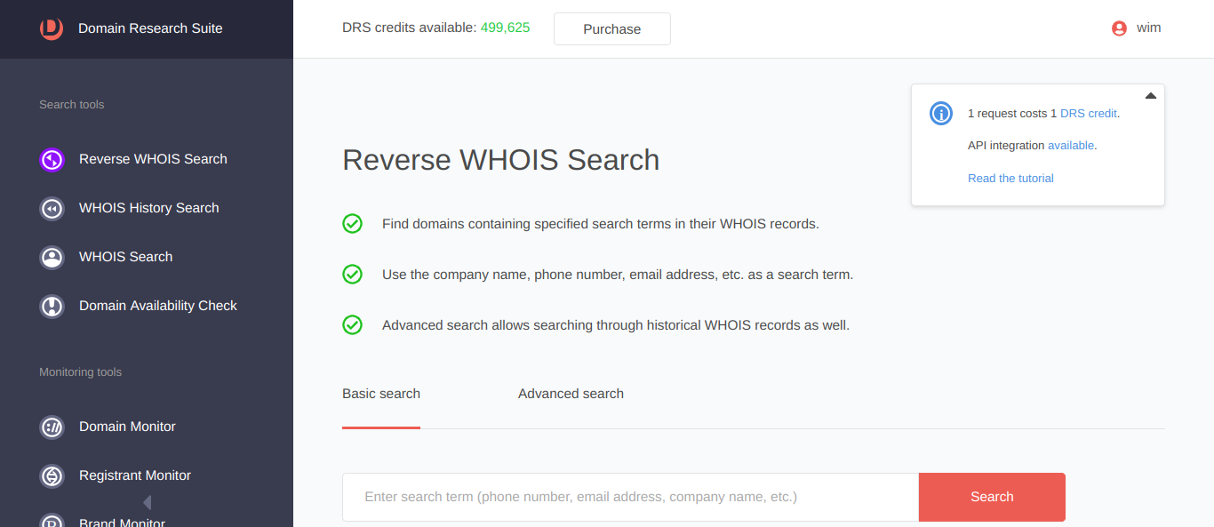 Reverse WHOIS Search | Domain Research Suite