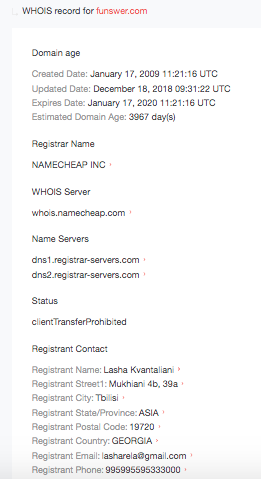 We built WHOIS reports for each domain to find out more about their owners